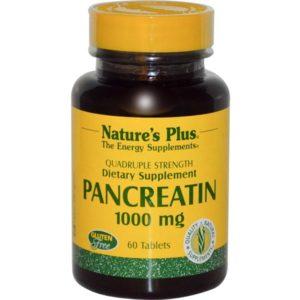 Natures Plus Pancreatin 1000 mg - 60 Tablets