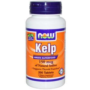 Iodine Kelp Supplement Now Organic Kelp 150 mg 200 Tablets-min